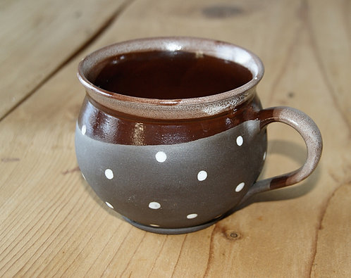 Kubek ceramiczny BRĄZOWY - wzór CZESKI duży