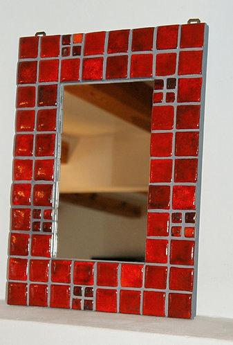 lustro mozaika ceramiczna CZERWONE  29 x 40 cm