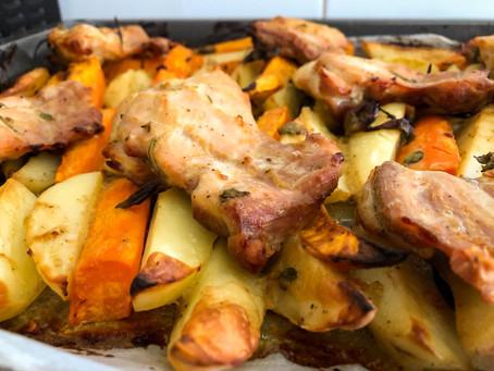 פרגיות בחרדל ומייפל עם תפוחי אדמה ובטטות