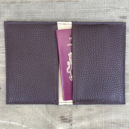Brown leather passport cover open