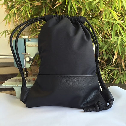 Levant black canvas and leather backpack