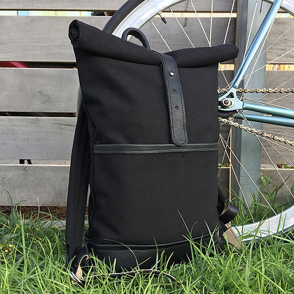 Levant black  leather and canvas backpack