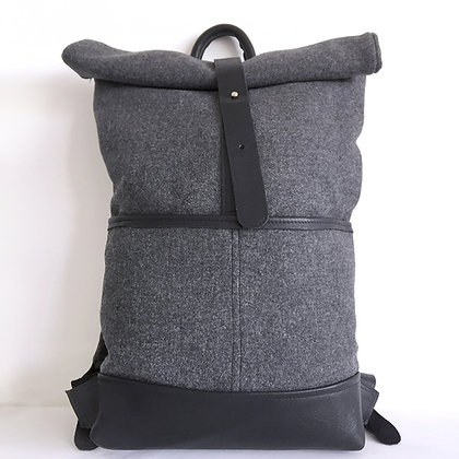 Levant grey wool and black leather backpack