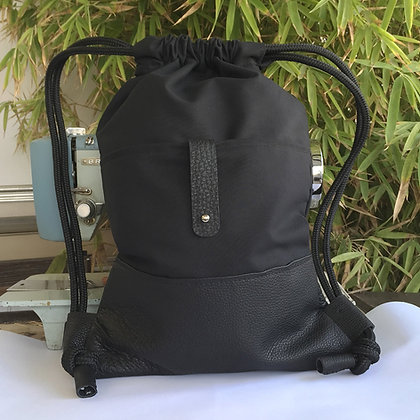 Levant black canvas and leather pocket backpack