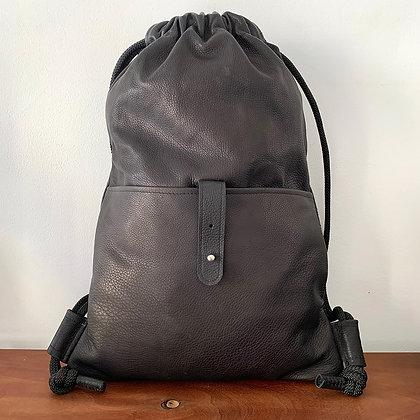 Levant soft leather black pocket backpack