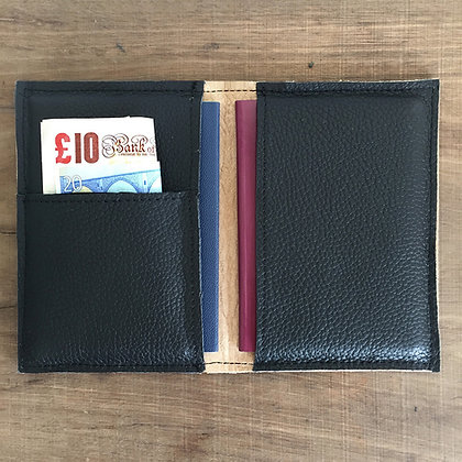 Black leather passport cover open