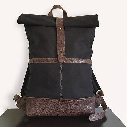Levant black and brown leather and canvas backpack