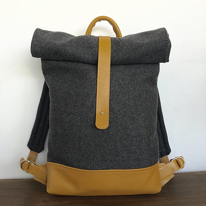Levant grey wool and ochre leather backpack