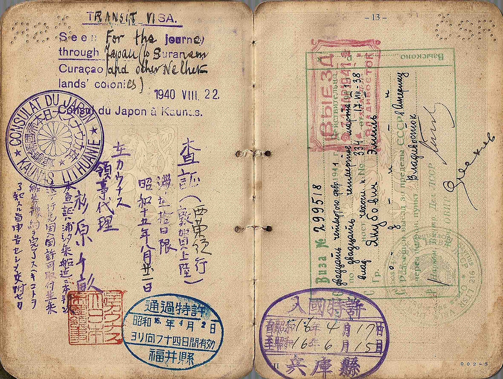 1940 issued visa by consul Sugihara in Lithuania