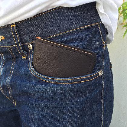 Black leather travel wallet in pocket