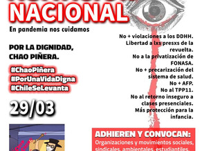 Este 29 de MARZO demandamos NO + Violaciones a los DDHH, ni Leyes de Amarre de Piñera