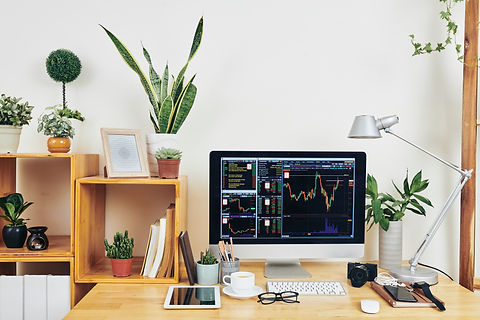 desk with a computer and a Plant with a gray background