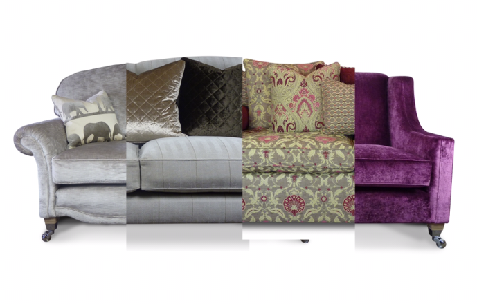 Four of our handmade sofas designs in different fabric to show how we can customise each piece for our individual customers.  Sofas left to right; our 2.5 seater Sheldon in Casamance fabric, Hatherliegh in Andrew Martin Fabric, Devon Knole in Jim Dickens fabric and the Silverton in Harlequin fabric