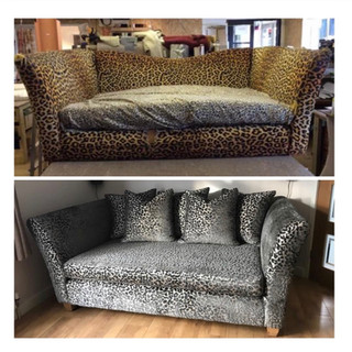 Re-covered sofa in Leopard print