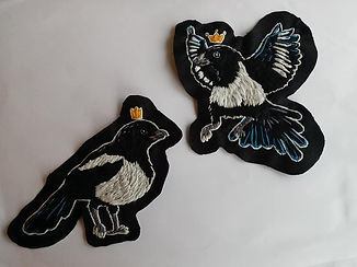 Hand embroidered magpie patches.jpg