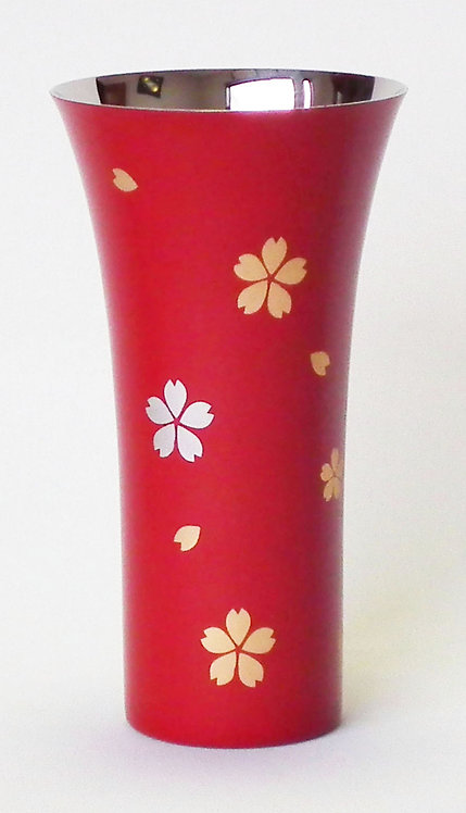 Lacquer stainless beer cup (cherry blossoms/large)