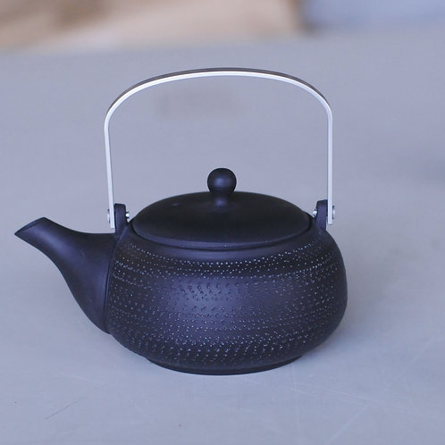 Ceramic tea pot (black/round shape/Tokoname ware)
