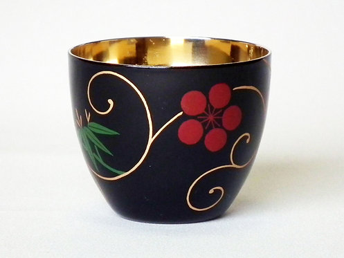 Lacquer stainless cup for Japanese alcohol (pine, bamboo and plum 松竹梅)