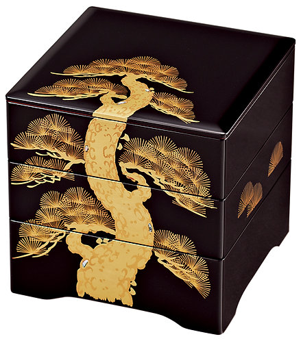Lacquer celebration 3 tiered box (Pine tree)