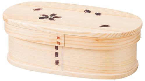 Wooden lunch box (medium/cherry blossom) with rubber band