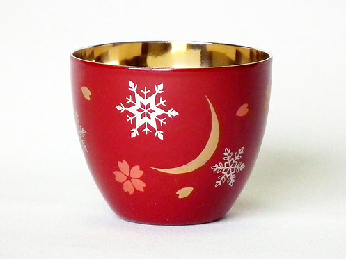 Lacquer stainless cup for Japanese alcohol (snow, moon and flower 雪月花)