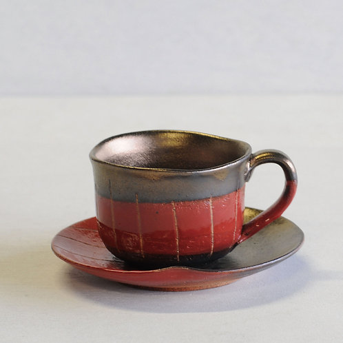 Stripe clay tea cup & saucer (red)