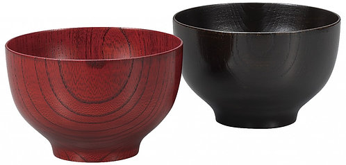 Lacquer wooden rice bowls (rounded)  (2pcs/bright red & black)