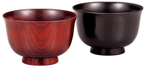 Lacquer wooden rice bowls (cherry blossoms trees)(2pcs/red & black)