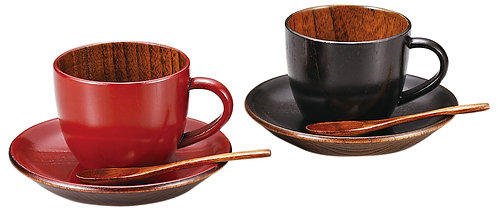 Lacquer wooden coffe cup (2pcs/red & black) with saucer & spoon