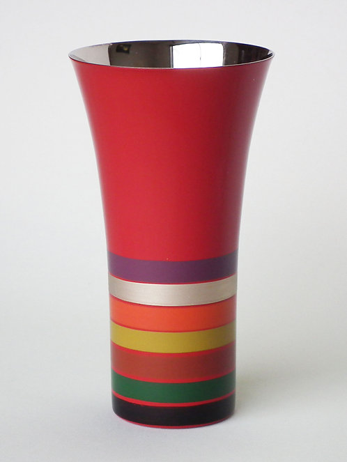 Lacquer stainless beer cup (stripes/large)