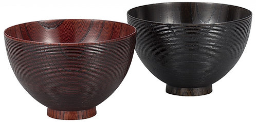 Lacquer wooden rice bowls (zelkova)  (2pcs/dark red & black)