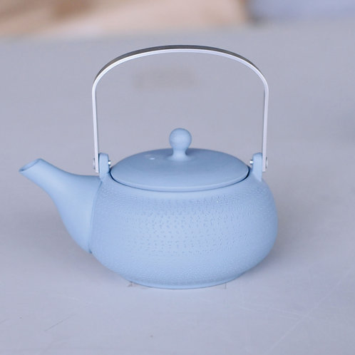 Ceramic tea pot (blue/round shape/Tokoname ware)