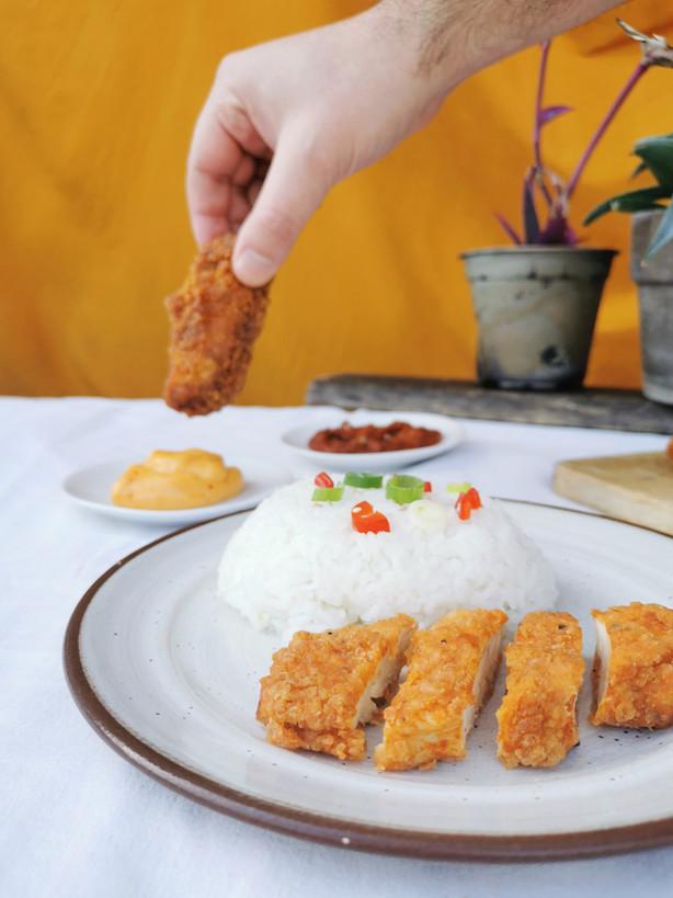 Fried chicken de Tony, sauce barbecue & mayo épicée maisons
