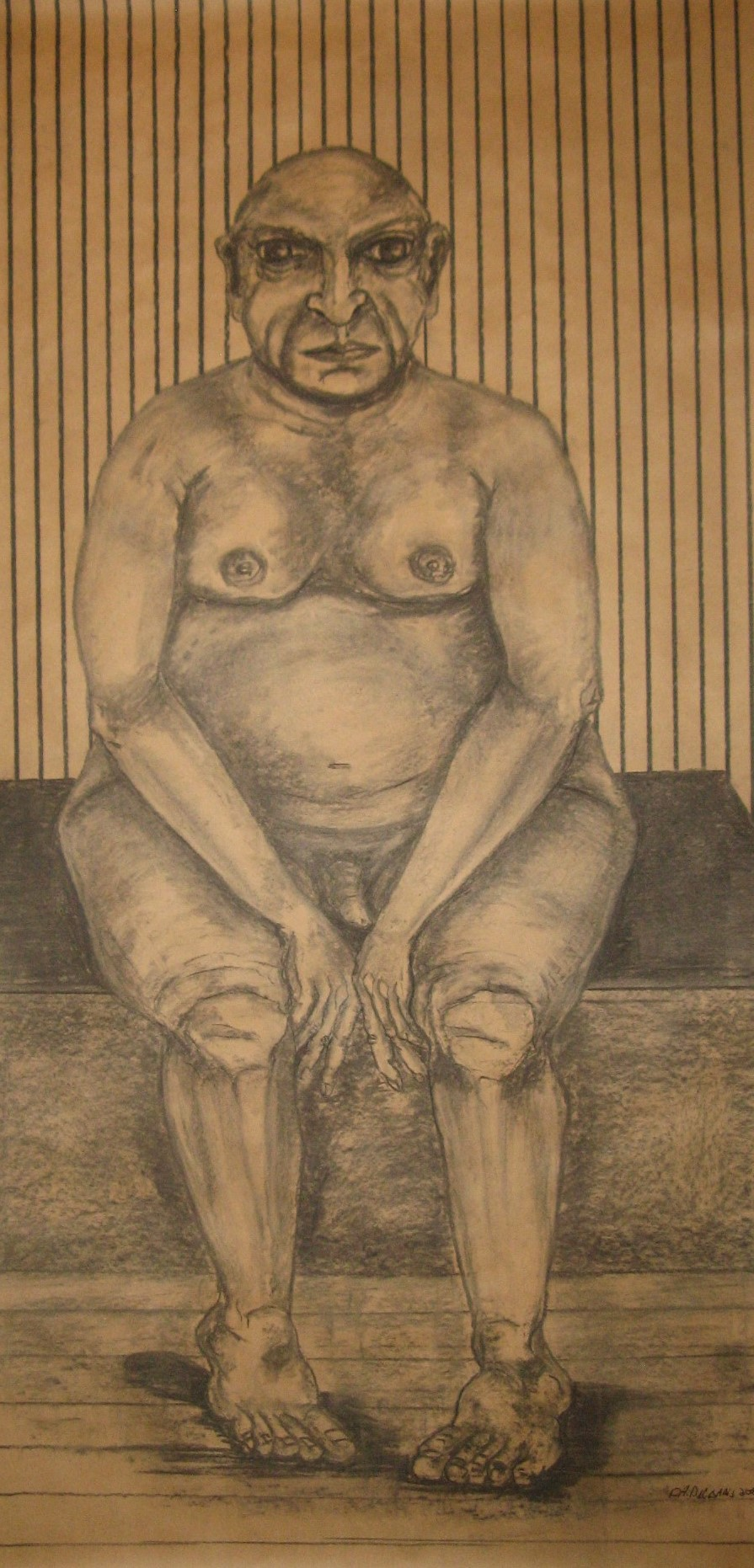 Sitting nude man