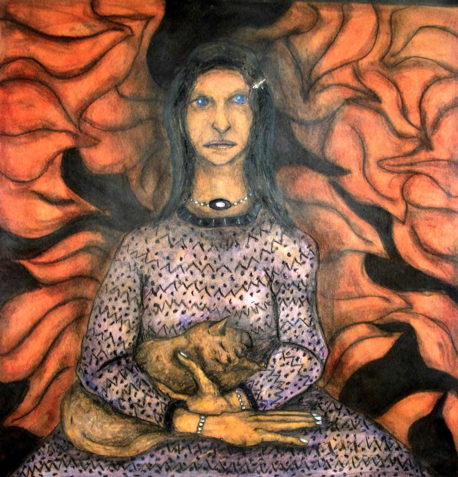 Lady Holding Cat
