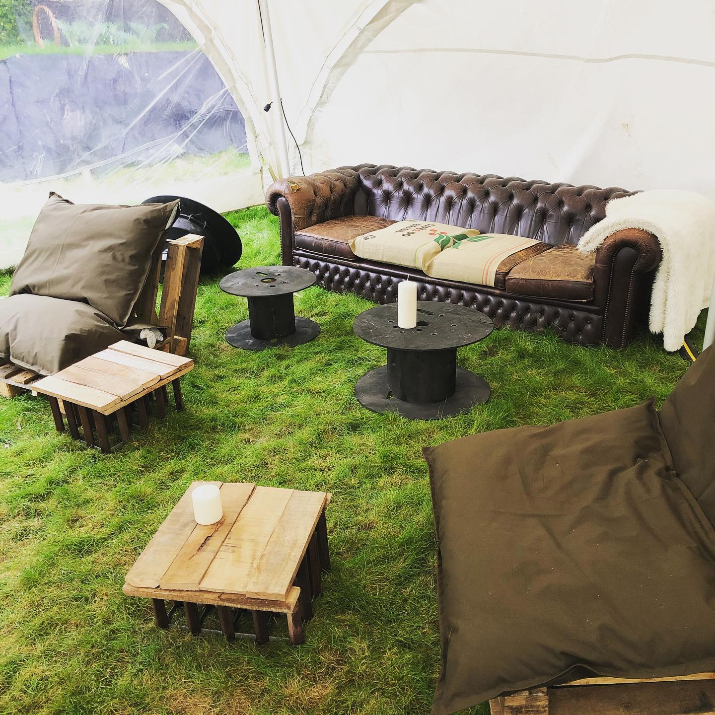 Furniture in marquee ready for event