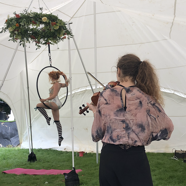 Aerial Hoop, violin with Afternoon Tea
