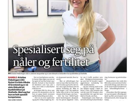 Artikkel om akupunktør Kristine Finkenhagen i TA