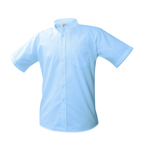 Oxford dress shirt, short sleeve, embroidered logo, light blue, K-8