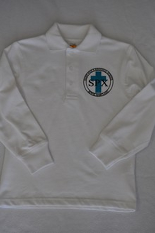 Knit shirt, long sleeve, with school emblem grades K-8