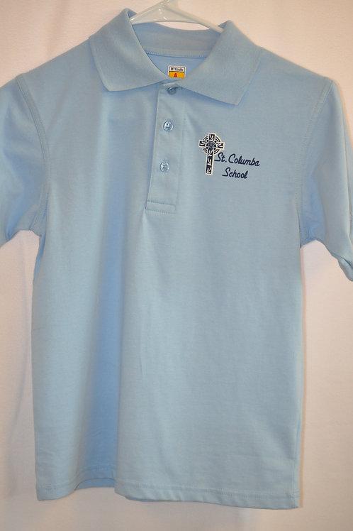 Smooth knit shirt, Short sleeve, Ink logo, Light blue, K-8