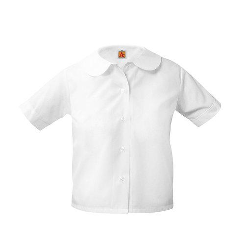 Peter Pan Blouse, Short Sleeve, White, K-4