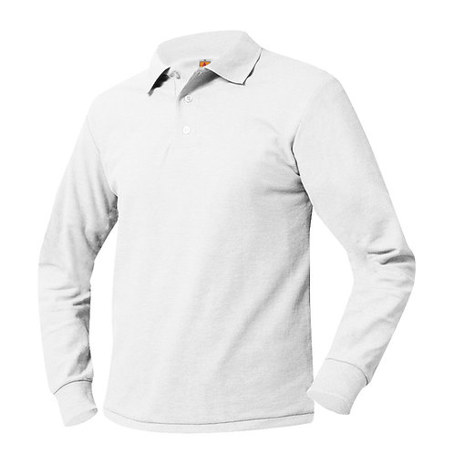 Textured knit shirt, long sleeve, embroidered logo, White, K-8