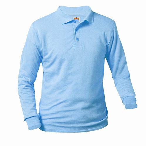 Smooth knit shirt, Long sleeve, ink logo, light blue, K-8