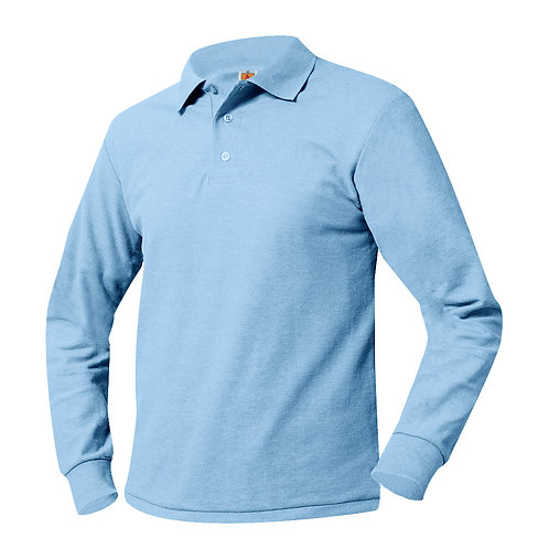 Textured knit shirt, long sleeve, embroidered logo, Light blue, K-8