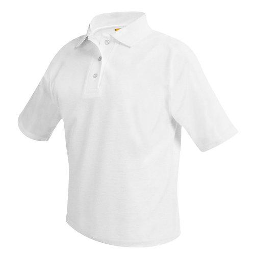 Textured knit shirt, short sleeve, ink logo, White, K-8