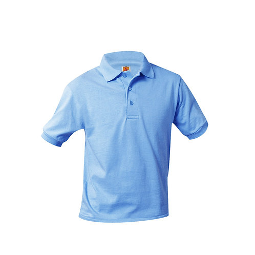 Smooth knit shirt, short sleeve, embroidered logo, Light blue, K-8