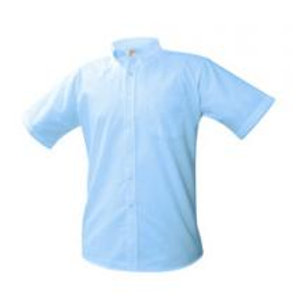 Blue Oxford Shirt, Short Sleeve, Embroidered (Male)(Grades 9-12)