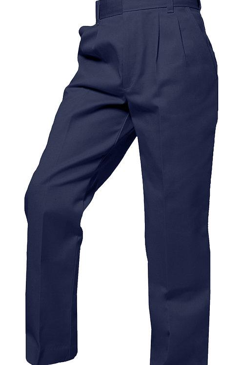 Pleated twill slacks, Navy, K-8, Unhemmed