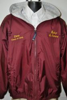 Maroon Personalized Hooded Jacket With Monogram